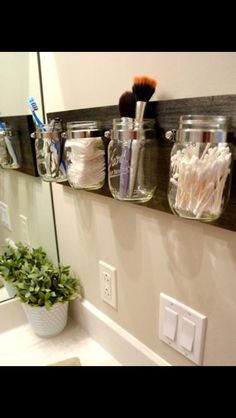Organizing in the bathroom w/ vintage country shelf