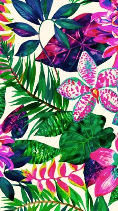 Vibrant tropical jungle plants print pattern