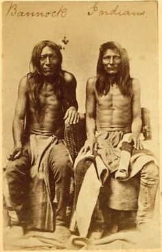 Two unidentified men of the Bannock Nation. Circa 1867.  No additional information.