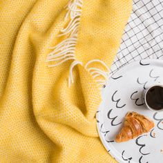 Yellow wool blanket | British made blankets and throws