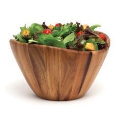 "Lipper International Acacia Serveware 12"" Wave Bowl 