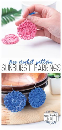Crochet a pair of sunburst earrings using embroidery floss and a mm hook. Use this free pattern and video for boho crochet earrings in under 20 minutes. Crochet Thread Patterns, Crochet Jewelry Patterns, Crochet Earrings Pattern, Crochet Accessories, Doily Patterns, Flower Patterns, Earring Tutorial, Beautiful Crochet, Crochet Flowers