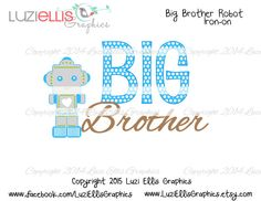 Print your own Iron on - Big brother Robot, blue brown boys iron on DIY Printables - Digital Sheet - digital transfer by LuziEllisGraphics on Etsy Blue Brown, Robot, Brother, My Etsy Shop, Iron, Printables, Vintage, Digital, Big