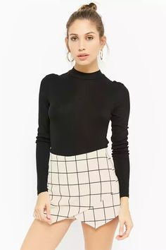 Product Name:Asymmetrical Grid Skort, Category:CLEARANCE_ZERO, Price:35
