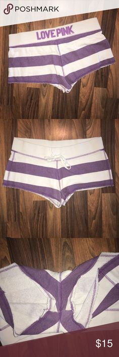 """Victoria's Secret PINK Purple Striped Shorts Victoria's Secret PINK Purple & White Striped Shorts. Great used condition! Super comfy. I would consider them """"booty shorts."""" They could also fit a size small in my opinion. 😊 PINK Victoria's Secret Shorts"""