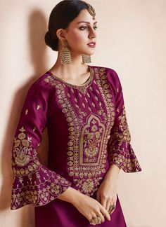 Georgette Satin Heavy Embroidered Semi-Stitched Salwar Suit With Organza Dupatta Kurti Neck Designs, Dress Neck Designs, Designs For Dresses, Blouse Designs, Kurti Embroidery Design, Embroidery Fashion, Embroidery Dress, Embroidery Jewelry, Dress Indian Style