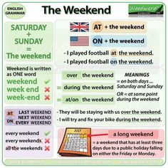 The weekend in English - Do we say AT the weekend or ON the weekend? What other prepositions do we use with Weekend? What is a long weekend? English Grammar Rules, Learn English Grammar, English Writing Skills, Grammar And Vocabulary, English Language Learning, English Vocabulary Words, Learn English Words, English Lessons, Teaching English