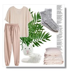 """""""Pajama Party!"""" by salsabila-anindya ❤ liked on Polyvore featuring Fine Collection, H&M and Aiayu"""