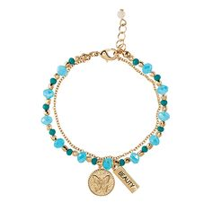You will love this product from Avon: Inner Goddess Double Row Charm Bracelet Butterfly Ring Bracelet, Charm Bracelets, Last Minute Gifts, Blue Beads, Avon, Turquoise Necklace, Jewelery, Fashion Accessories, Jewelry Design