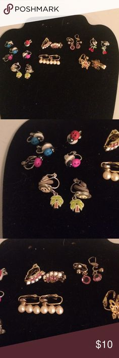 Cute clip on earrings 8 pairs plus one odd ladybug Accessories Jewelry