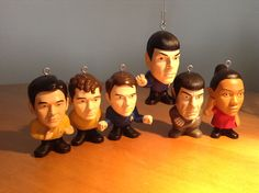 Star Trek character Christmas ornaments, that each say a catch phrase.