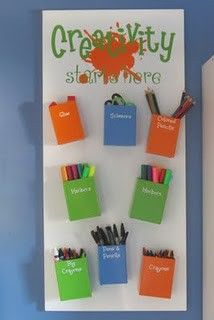 DIY::Magnetic storage for crayons, markers, etc. Love it!
