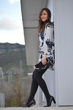"""Floral playsuit - As first seen on blog """"1000 maneras de vestir"""" here: Floral playsuit She is wearing tights similar here: Black Matte Super Opaque Tights Soft densely knit matte tights offer sleek coverage and the figure-perfecting fit of a control top."""