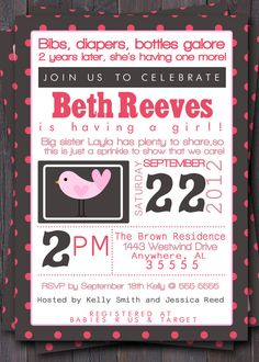 Modern Girl Typography Polka Dot Baby Sprinkle  A sprinkle instead of a baby shower.   Meet and greet post baby idea.