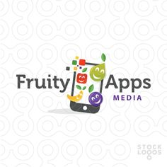 Logo for sale: Fun design. The apps are designed to look like happy fruity apps, displayed on a mobile device.