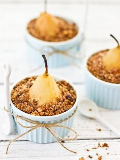 Poached pear crumble with chocolate, coffee and hazel nuts- a sensational dessert! Pear Recipes, Fall Recipes, Sweet Recipes, Fruit Recipes, Delicious Desserts, Dessert Recipes, Yummy Food, Pear Dessert, Coffee Dessert