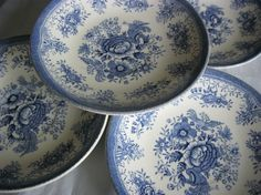 4 skåler tefat Blå fasan Blue And White China, Pheasant, Small Things, Dinnerware, Stoneware, Scandinavian, Retro Vintage, Pottery, Plates