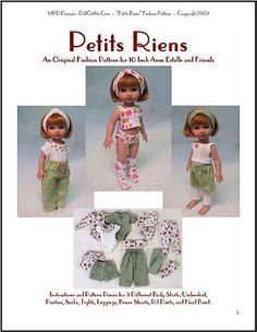 """""""Petite Riens"""" Fashion Pattern for 10 Inch Tonner Ann Estelle and Patsy Dolls"""