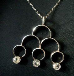 Kultaseppä Salovaara, vintage modernist sterling silver pendant with cubic zirconia, 1970's. #Finland | FinlandJewelry.com