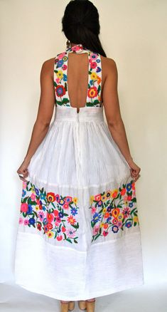 f8770a1ab93 Vintage Mexican Oaxacan Embroidered White dress by OldSoulsVintageCo