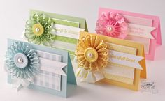 Pretty little cards with various border punches for flowers