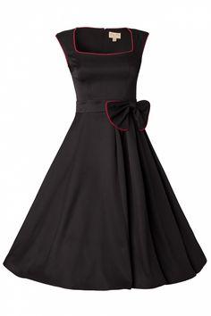 Lindy Bop - 1950s Grace Black Bow vintage style swing rockabilly dress