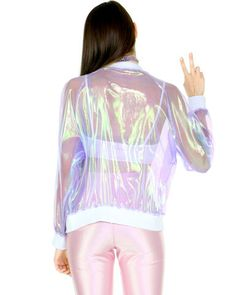 CLEAR HOLOGRAM JACKET <3 holo glam <3 shop the vday section at SHOPJEEN.com Cute Fashion, Retro Fashion, Fashion Beauty, Vintage Fashion, Holographic Jacket, Streetwear, Pastel Grunge, New Wardrobe, Festival Outfits