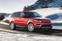 2015 Range Rover Sport in Firenze Red Driving in Snow - still my favorite vehicle!