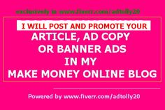 post,promote your article,ad, banner in my Blog for 30 days by adtolly20