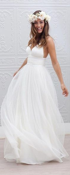 This cute Spaghetti Straps Bridal Gown is perfect for a beach wedding or it's the beach wedding dress that matches perfectly for your garden style celebration. More at http://www.cutedresses.co/product/spaghetti-straps-bridal-gown-garden-wedding-beach-style/