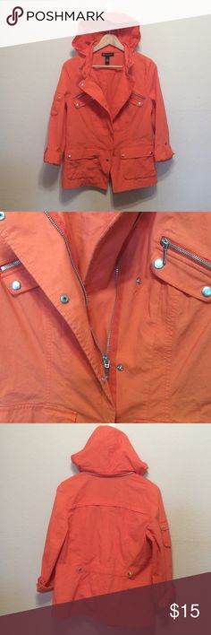 INC INTERNATIONAL CONCEPTS Trench Coat Jacket Sooo cute ?? zip away the hoodie or let hang loose, silver hardware makes beautiful contrast, Size L, 24 inches long, coral, zipper and snap closure, in mint condition, never wore Jackets & Coats Trench Coats