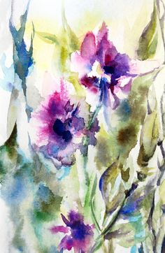 Abstract Watercolor Print, Watercolor Painting Art Print, Floral Purple Green Wall Art