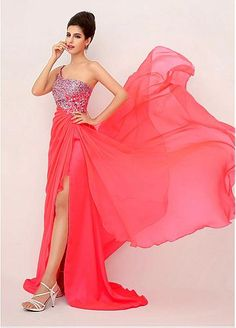 In Stock Elegent Chiffon One Shoulder Neckline A-Line Prom Dresses With Beadings