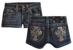 Miss Me Kids Embellished Cross Denim Tween Shorts
