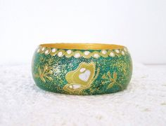 Wood bracelet hand painted wood bracelet wooden by GattyGatty, $23.00