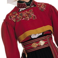 Traditional national costume, Telemark, Norway like the sweater and how short it is Folk Fashion, Ethnic Fashion, Retro Fashion, Folk Costume, Costumes, V Neck Dress, Traditional Dresses, Scandinavian Design, Norway