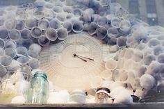 snow cone clock #Anthropologie, #window_display, #installation, #clock