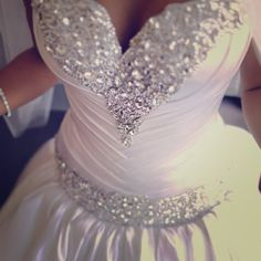 BEAUTIFUL wedding dress with Swarovski elements. Lady says she paid $5,555 JUST for the TRAIN! Oh, and she's taking offers to sell.