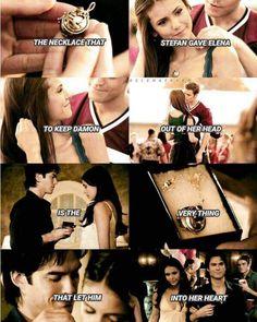 """""""El collar que Stefan le dio a Elena para mantener a Damon fuera de su cabeza, es lo mismo que lo dejó entrar en su corazón"""""""