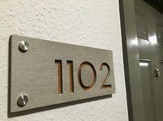 Modern Apartment Door Numbers Plague Green Acrylic Porch.