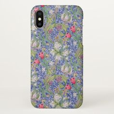 William Morris Vintage Lily Blue Background iPhone X Case - floral gifts flower flowers gift ideas