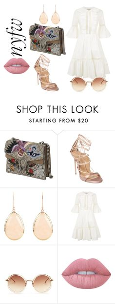 """""""Oh my Gucci!"""" by amrinjo ❤ liked on Polyvore featuring Gucci, Dsquared2, Latelita, Temperley London, Linda Farrow, Lime Crime, StreetStyle, NYFW, ootd and girly"""