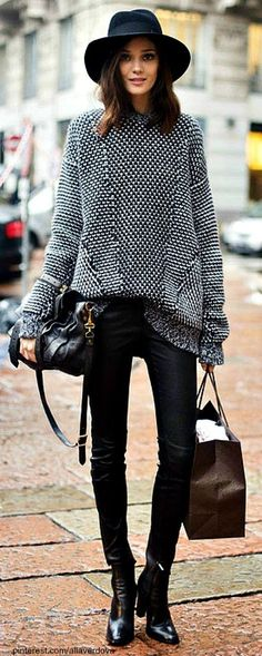 Street Style: Oversized sweater with leather tights, beautiful leather ankle boots and oversized fedora #street