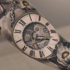 Tattoo flowers with watch in 3D - Title