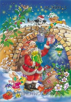 Interlitho, Michele, CHRISTMAS SANTA, SNOWMAN, paintings, santa, animals(KL2228/1,#X#) Weihnachtsmänner, Schneemänner, Weihnachen, Papá Noel, muñecos de nieve, Navidad, illustrations, pinturas