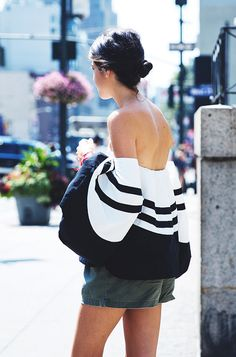 Off the shoulder while and black striped top