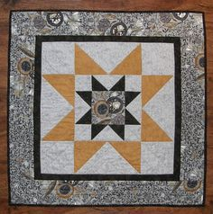 Quilted Table Topper Wall Hanging Gray Black Gold Patchwork