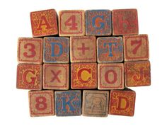Antique ALPHABET Blocks  Set of 18 Embossed by sushipotvintage