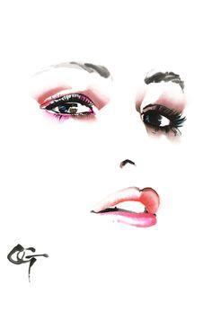 凛 RIN,COLORS 2 #OHGUSHI #Fashion_illustration #Cosmetic #portrait_painting #watercolor #japanese_ink #Bijinga #水墨画 #美人画