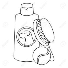 brush pet with dog care bottle and ball toy vector illustration design , Florist Logo, Dog Care, Typography, Design Inspiration, Toy, Pets, Bottle, Illustration, Letterpress